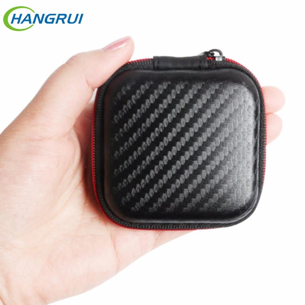 HANGRUI mini cremallera rígida mini bolsa de auriculares caja de auriculares Caja de almacenamiento de auriculares para auriculares Cable de datos Tarjetas SD TF Cargadores USB