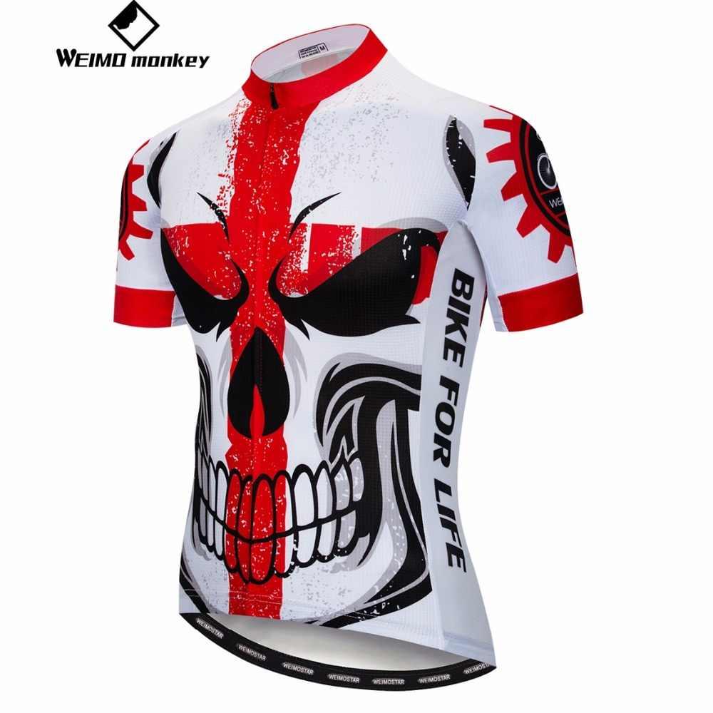 2019 camisa de ciclismo da bicicleta dos homens camisas montanha mtb manga curta equipe maillot ciclismo topo verão wear crânio estrada roupas