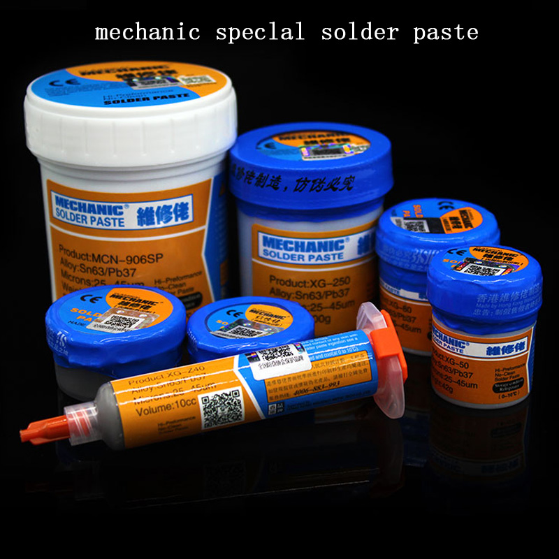 High quality Solder Paste Flux Original HK MECHANIC Soldering Paste XG-80 XG-50 XG-30 Solder Tin Sn63/Pb67 For soldering iron hight quality mechanic xg z40 xg 50 soldering solder flux welding paste flux xg80 xg 250smd smt sn63 pb37 welding flux