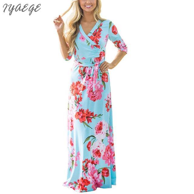 687539d88a4e02 Maxi Dress Party Casual Womens V-hals Jurken Lange Bloem lange gebloemde  jurk herfst Vrouwen