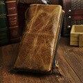 Мужчины Масло Воск/Crazy Horse Подлинная Кожаный Бумажник С Молнией мешочек Монет Карман Сотовый Телефон Держателя Карты Длинный Кошелек Двойные кошельки