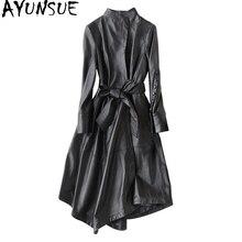 Ayunsu سترة جلد طبيعي 2020 معاطف جلد الغنم الحقيقي للنساء معطف طويل خندق الإناث ربيع الخريف جاكيتات 22291 WYQ1188