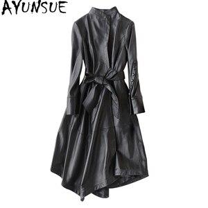 Image 1 - Ayunsu سترة جلد طبيعي 2020 معاطف جلد الغنم الحقيقي للنساء معطف طويل خندق الإناث ربيع الخريف جاكيتات 22291 WYQ1188