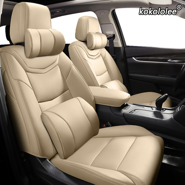 Kokololee capa de assento de carro, capa personalizada de couro para volkswagen passat beetle tuareg tiguan phaeton vw r36 eos magotan scirocco