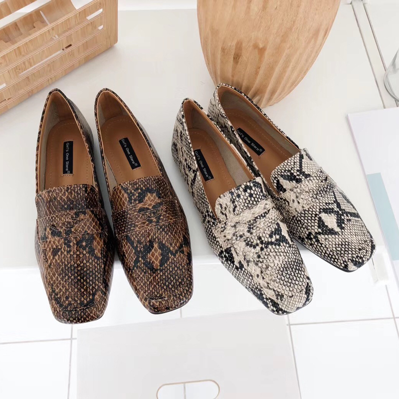 Kmeioo Fashion Office Lady Shoes Snakeskin Loafers Slip-On Mules Square Toe Flats Women Classic Flat C Shoes Kmeioo Fashion Office Lady Shoes Snakeskin Loafers Slip-On Mules Square Toe Flats Women Classic Flat C Shoes