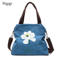 Floral Hand Painted Women's Handbags Large Capacity Canvas Bag Female Casual Ethnic Shoulder Bag Sac Main Femme