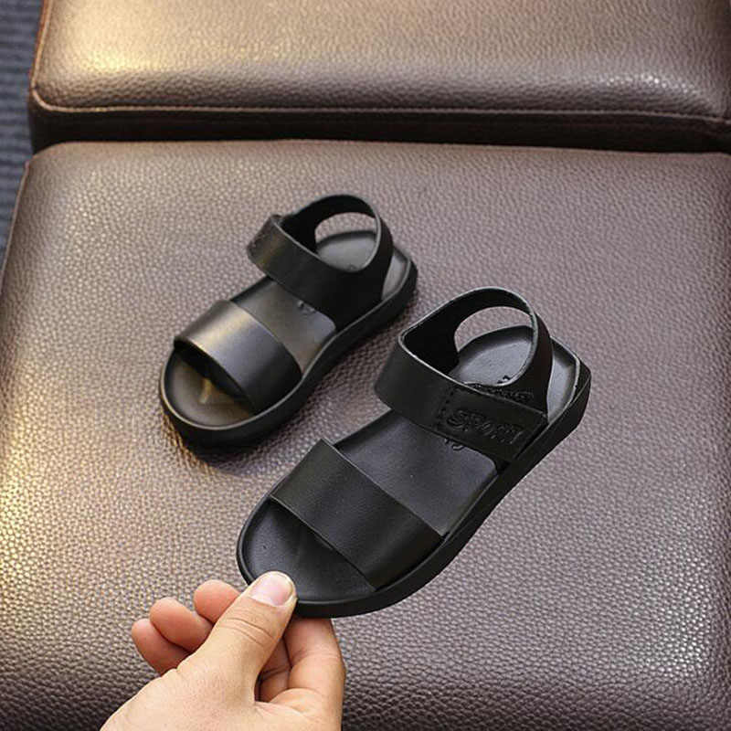 CMSOLO เด็กวัยหัดเดินรองเท้าแตะ 2019 ฤดูร้อนเด็กรองเท้าแตะเด็กชายหาดรองเท้าเด็กสีขาวสีดำรองเท้ายางแบนกลางแจ้งใหม่