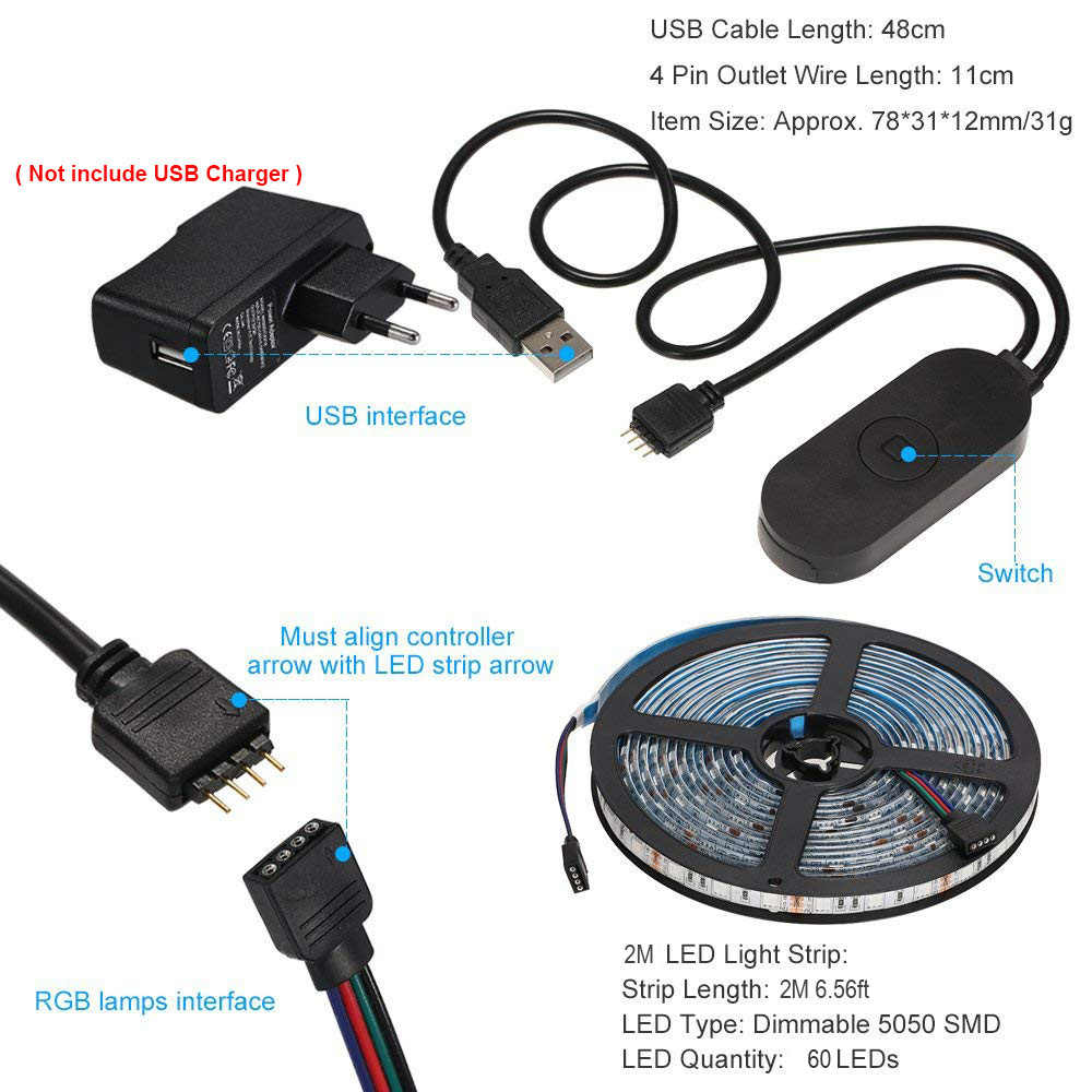 29b25f353312 ... Smart Control Light Strip WiFi LED RGB Lights Strip Kit 6.56ft 2M 5050  Waterproof IP65 ...