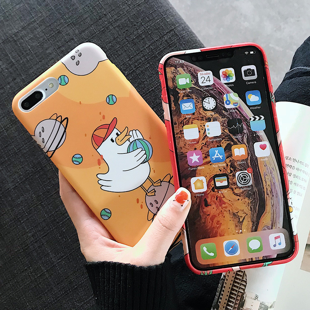 KIPX1123_2_JONSNOW Solid Liquid Soft Silicone Case For iPhone X XR XS Max 6 6S 7 8 Plus Cases Painted Cartoon Chick Cat Pattern TPU Cover