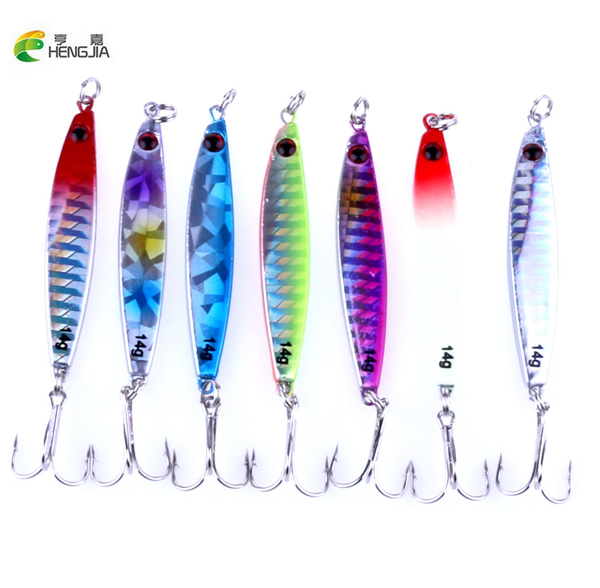 Fishing Hengjia Lead Head Fishing Lure Artificial Lifelike Metal 40g 21g 14g 3 Size 7colors Saltwater Sinking Deep Sea Fishing Tackle