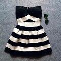 Новая Мода Геометрическая Полосой Чешские Бретелек Повязки женщин Bodycon Высокая Талия Старинные Мини Партия Праздник Бальное платье Платье