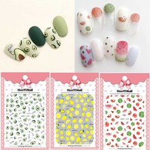 1pcs Summer Fruit 3D Nail Art Transfer Sticker Watermelon Lemon/Avocado/Strawberry Pattern Nail Decal Manicure Nail Decoration 3d nail art fimo soft polymer clay fruit slices cartoon for nail manicure sticker cell phones diy designs wheel decoration czp35