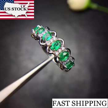 US STOCK Uloveido Green Emerald Ring, Flower Rings, Silver 925 Ring, 3*4mm*6 pcs Certified Gemstone Wedding Fine Jewelry FJ216 - DISCOUNT ITEM  20% OFF All Category