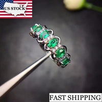US STOCK Uloveido Green Emerald Ring, Flower Rings, Silver 925 Ring, 3*4mm*6 pcs Certified Gemstone Wedding Fine Jewelry FJ216