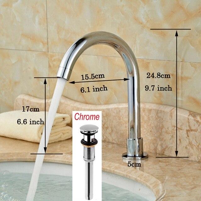 Long Chrome Finish Solid Brass Bathroom Faucet Spout Only Faucet ...