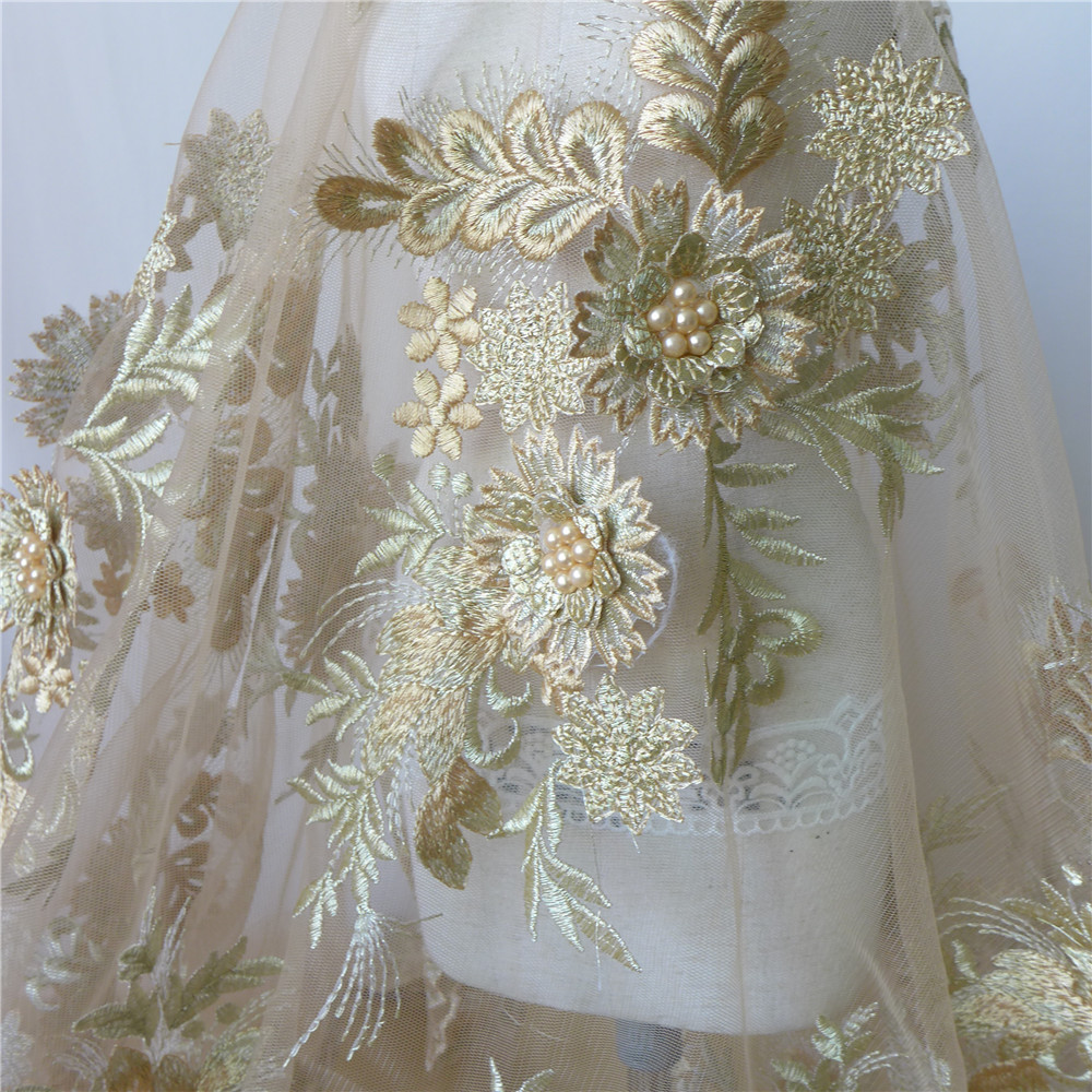 African Lace Fabric Champagne/White Tulle Mesh Fabric Embroidery Fabric With Pearls DIY Home Party Decor 9 Pieces Appliques