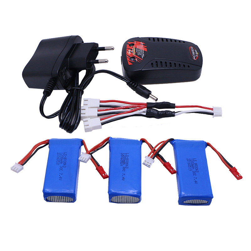 3pcs Battery+charger New Original A949 A959 A969 A979 Wltoys K929 1/18 RC Car Battery 7.4V 1200mAh LiPo for RC car Wltoys