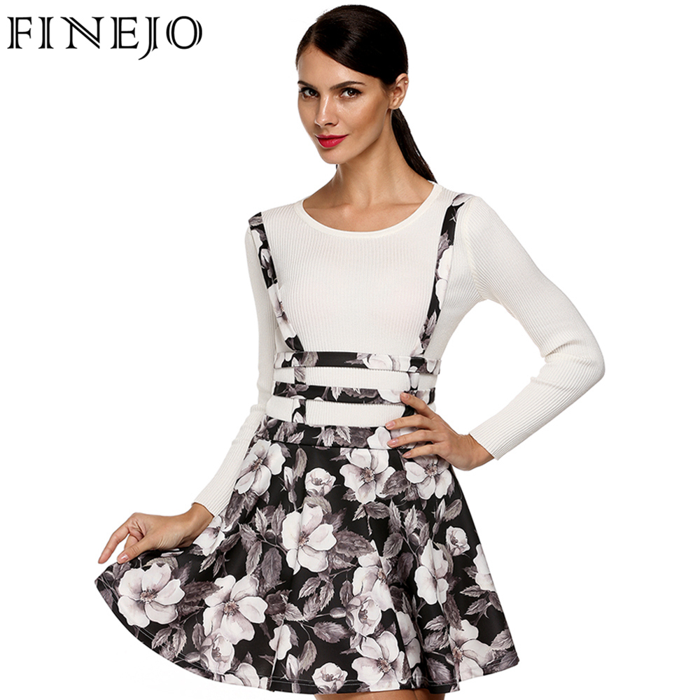 FINEJO Cute Women 3D Print Flora Dot Skirt Plus Size Above Knee A-Line Mini Skirt Hollow Out Suspender Zipper S-XXL Plus Size