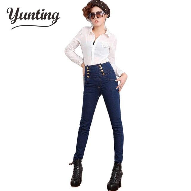 2018 mujeres de moda alta cintura Jeans Skinny mujeres doble pecho arriba  elástico Delgado pantalones lápiz 56524699e69d