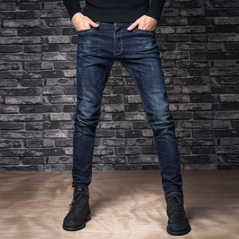 Autumn elastic jeans male straight slim long trousers male autumn and winter male jeans skinny pants