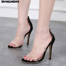 TINGHON Summer new Rome Solid color zipper Pumps Women Sandals sexy High Heels fashion Transparent peep toe party Woman Shoes