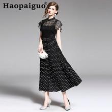 Summer Print Polka Dot Dress Women Short Sleeve Lace Patchwork Black S-XXL Plus Size Zomerjurk Dame 2019