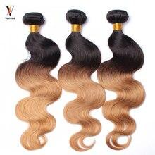 3 Pcs Ombre Human Hair Bundles Hair Pre-Color 1b/27 Honey Blonde Ombre Brazilian Hair Weave Bundles Remy Hair 3Pcs 1 Set Venvee