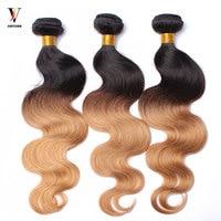 3 Pcs Ombre Human Hair Bundles Hair Pre Color 1b/27 Honey Blonde Ombre Brazilian Hair Weave Bundles Remy Hair 3Pcs 1 Set Venvee