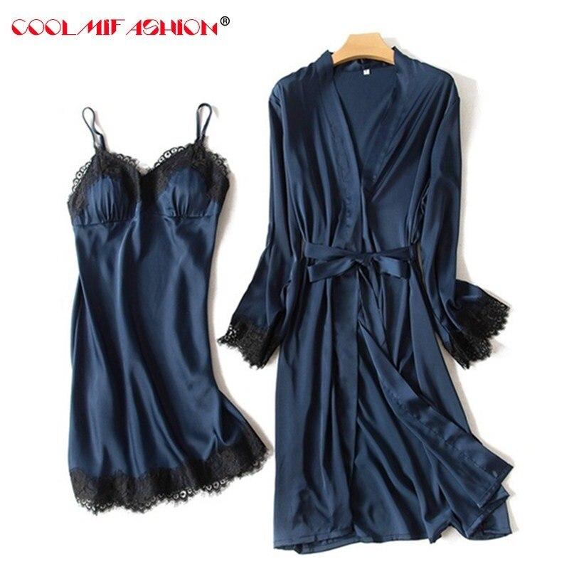 Luxury Women sexy Lace Silk like two pieces robe dress female lingerie spring summer sleepwear long sleeve bathrobe+braces skirt