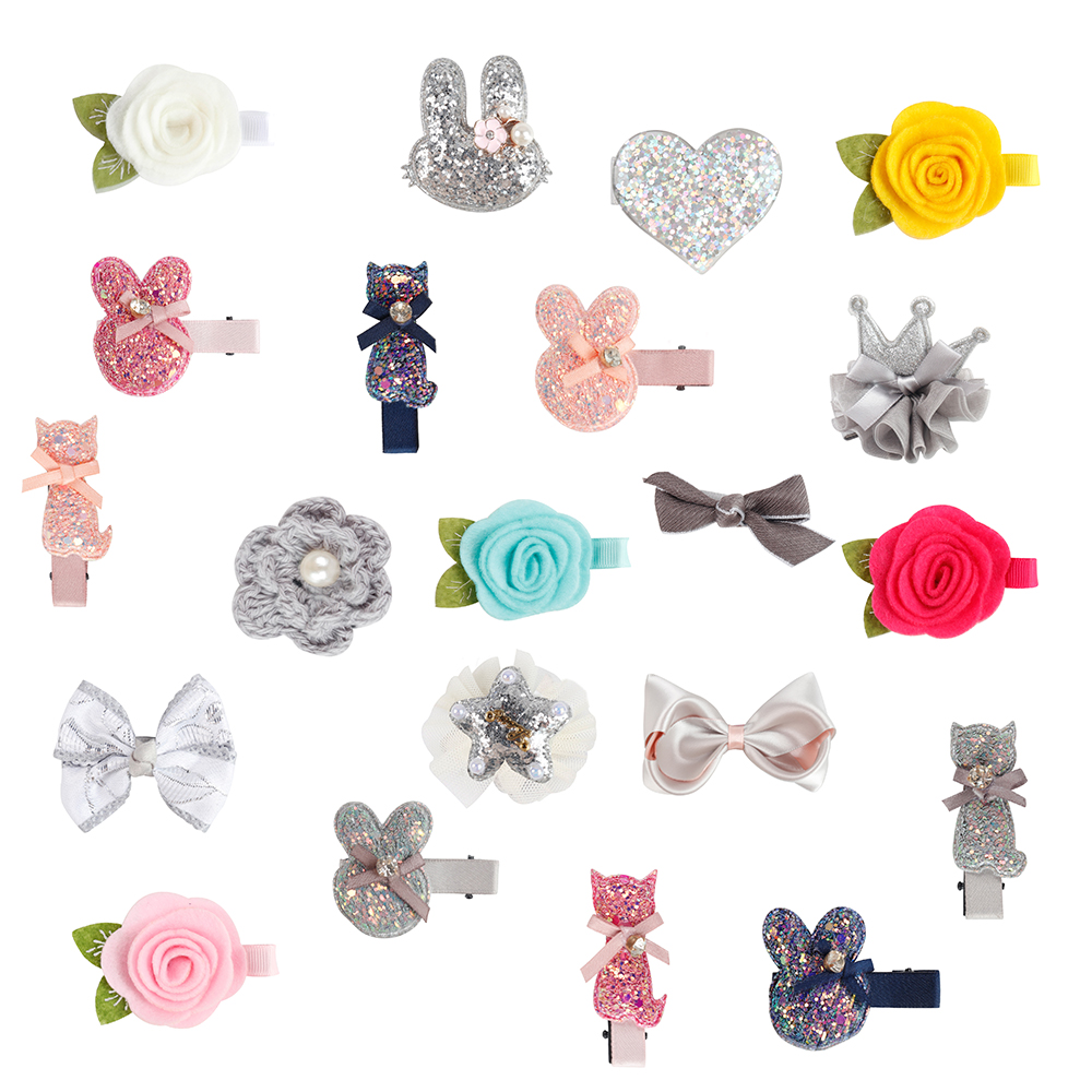 Cute Mini Girl Hair Bows Different Size Barrettes For Kids Glitter Clearance Hair Clips Floral Headwear Hair Accessories