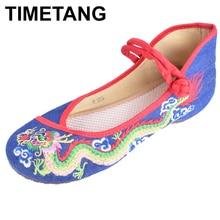 Flats-Shoes Vintage Dance-Ballst Oldbeijing Embroidered Women Dragon TIMETANG E295 Cloth-National