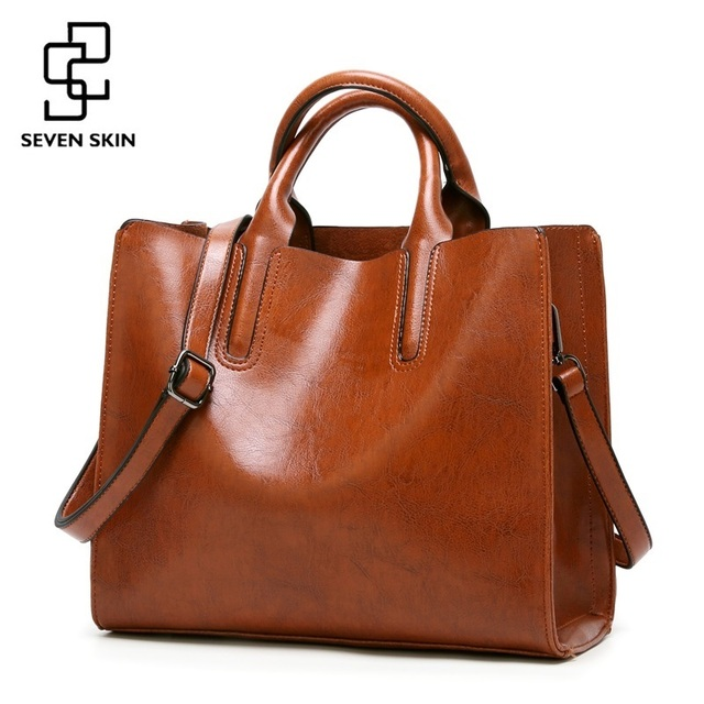 85e7d57d93d8 SEVEN SKIN Brand Women Oil Wax Leather Shoulder Bags Vintage Designer Handbags  Female Big Tote Bag