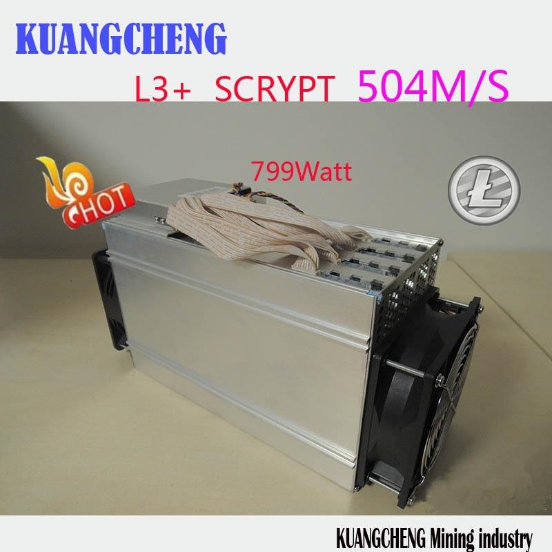 KUANGCHENG ANT MINER L3+ LTC miner 504M scrypt miner Litecoin mining machine on wall better than S9 and L3  250m  ltc MINER