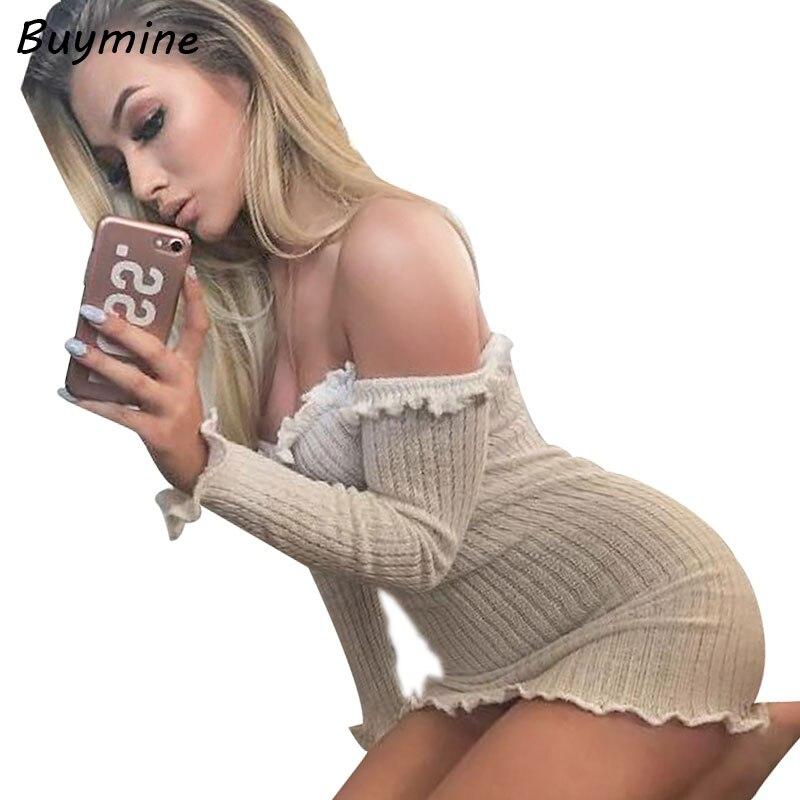 Slim Hip Knitted Dress Women Off Shoulder Sexy Mini Dresses 2017 Autumn Long Sleeve Bottom Knitting Dress Female Elastic Vestido