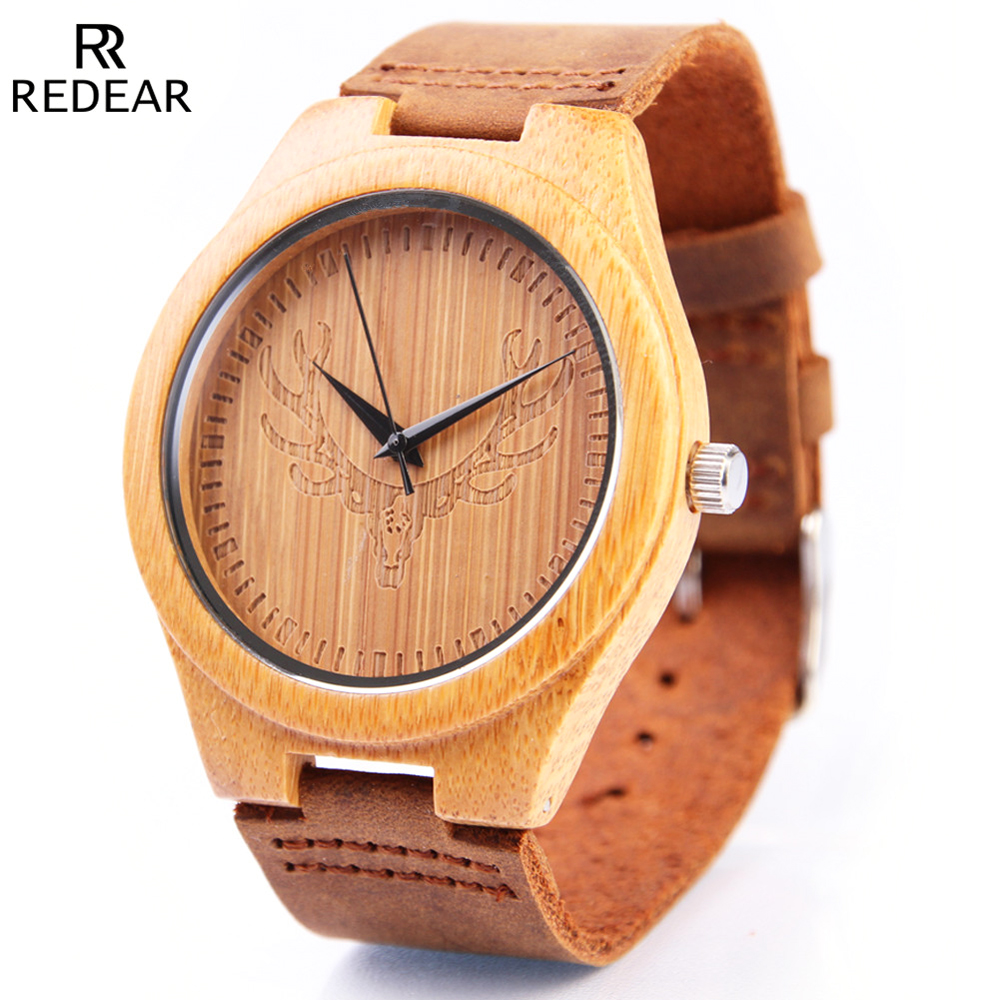 REDEAR Wood font b Watches b font Mens Top Brand Luxury Bamboo font b Wooden b