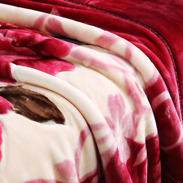 Couvre-lit épais Double face rouge | À fleurs, en Polyester, drap de lit Double taille, épais, hiver 2020