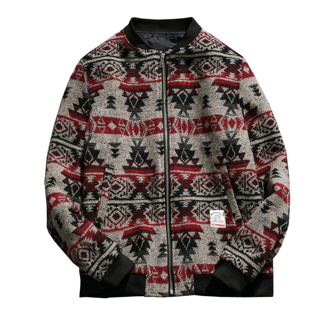 Men Woolen coat New Fashion Men Jackets Casual Men's Printed Autumn&Winter Jackets and Coats Warm Baseball Coat Plus size 5XL