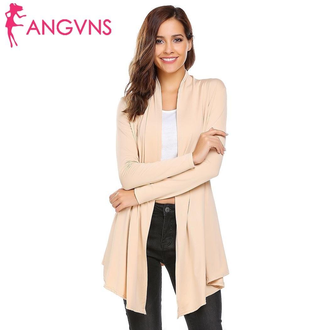 ANGVNS Automne Tricot Cardigan Pull Châle Femmes 2017 Mode Ouvert Avant tricoté pull À Manches Longues Solide À Long Kimono Cardigan