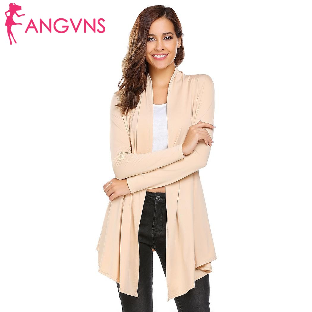 ANGVNS Autumn Knit Cardigan Sweater Shawl Women 2017 Fashion Open Front knitted jumper Long Sleeve Solid Long Kimono Cardigan