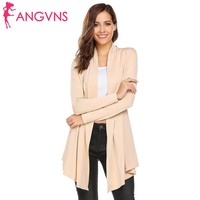 ANGVNS Cardigan Women 2017 Autumn New Fashion Open Front Long Sleeve Solid Knit Cardigan