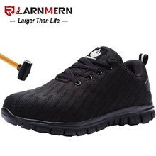 LARNMERN Men's Work Safety Shoes Steel Toe Anti-smashing Reflective Lightweight-750g Breathable Construction Sneaker цена 2017