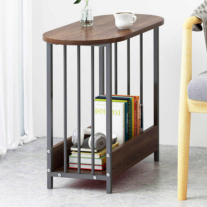 Wood Double layer oval Coffee Table Living room Sofa Side Table book  organizer Storage Small End Table Home Furniture