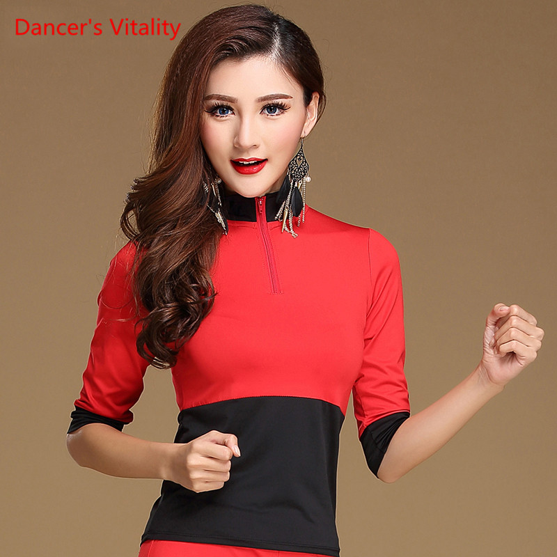 New Performance Fashion Short-sleeve Sexy Latin Dance Top For Women/female/lady Dancers ,costume Performance Wear