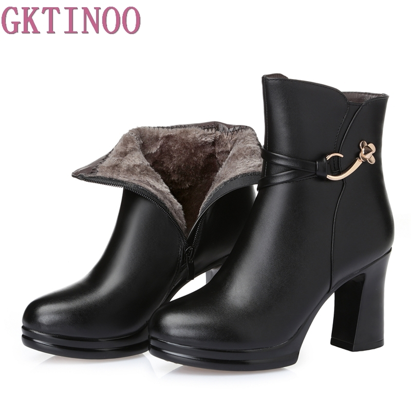 Women Platform Ankle Boots Round Toe High Heels Winter Shoes Woman Genuine Leather Boots Ladies Autumn