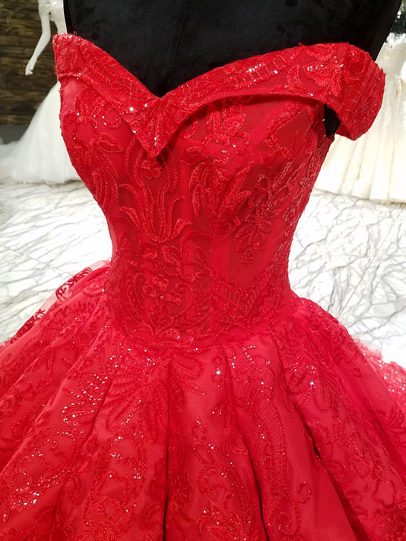 ruched red wedding dress