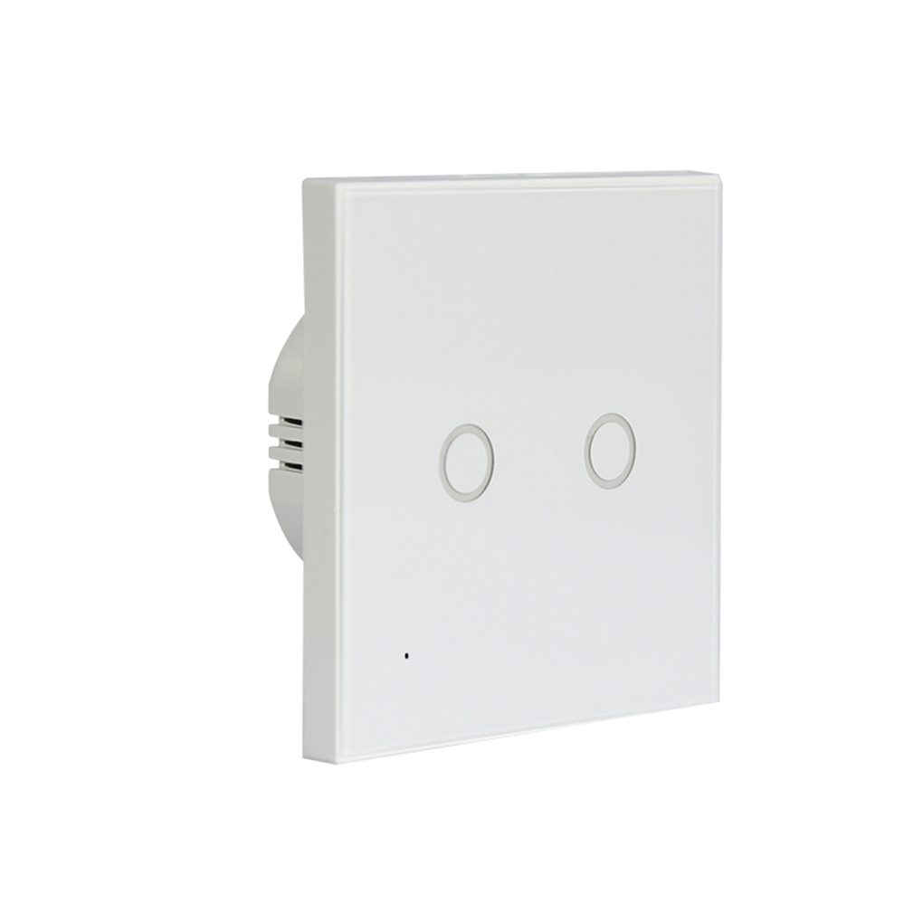 NEO Coolcam Wifi 2 Gang Wall Mount Light Switch Glass Panel Touch Smart Home Lights Switch EU Standard