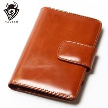 Genuine Leather Women Short Vintage Wallet Passport Package Oil Wax Women Wallets Purse Brand Design High Quality Womens Wallet