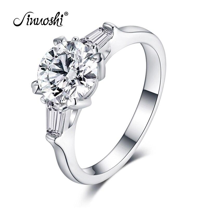 AINOUSHI classique réel 925 Bague en argent Sterling massif 2 carats ronde coupe Sona anneau pour femmes mariage fiançailles cadeau