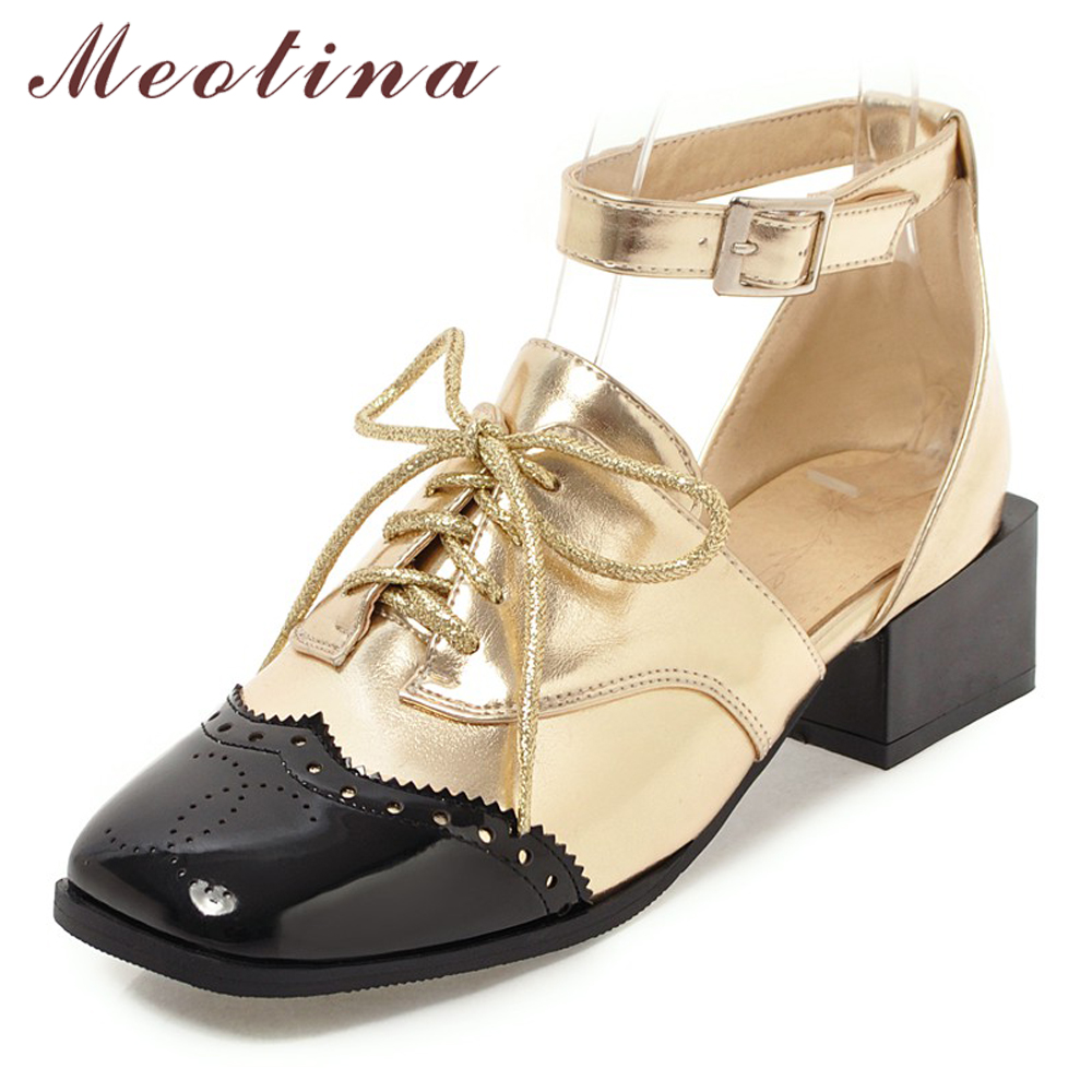 Meotina High Heels Two Piece Shoes Women Lace Up Thick Heels Oxfords Shoes Mixed Colors Square Toe Ankle Strap Pumps Size 33-46