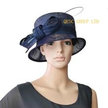 599ebe682c93a Navy blue small brim church Hat dress Hat Sinamay Hat w ostrich spine for  wedding